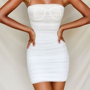 White Cami Ruched mesh dress